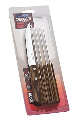 Tramontina 21198/915 29899/155 Steak/Pizza Knives, Light Black, 5-Inch