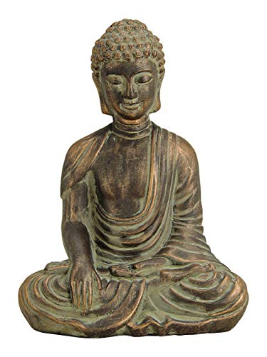 MC Trend Buddha Skulptur aus Ton in Antik Gold Deko-Artikel für Wohnung und Haus Figur Wohnaccessoire-Geschenk-Idee Feng Shui meditieren (Buddha groß)