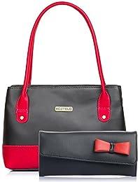 Fostelo Women's Combo Handbag & Clutch (Black & Black) (FSB-1050-FC-02)