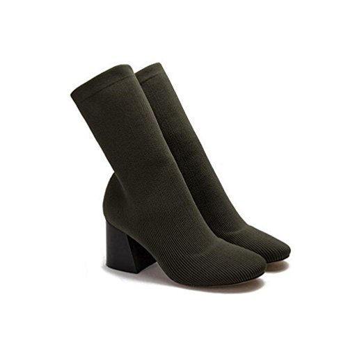 WYWQ Donne Rough High Block Heels Short Boots Partito Dimensione Testa Rotonda Verde Esercito Nero army green