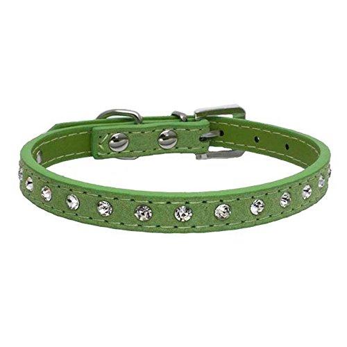 Hunde und Katzen, Classic Baumwolle Einstellbare Katzenhalsband Welpen HundeHalsband (Size XXS,Grün) ()