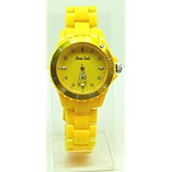 Monte Carlo Yellow Faced Circle Shaped Yellow Plastic Strap Ladies Watch