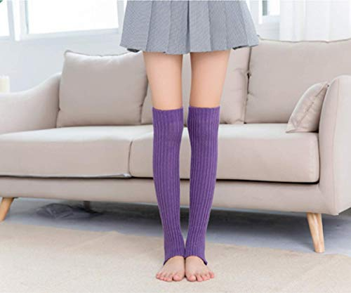 AYHa Yoga Socken Boot Cover Sport Cable Gestrickte Beinlinge Pilates Fitness Anti-Rutsch Socken, Schwarz,Lila -