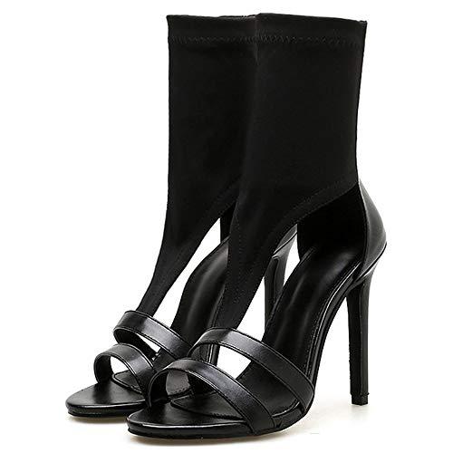 ALBOC Damen High Heel Stiletto Pump Sandalen New Office Open Toe Sandale mit dünnen Absätzen,Black-EU36/230 -