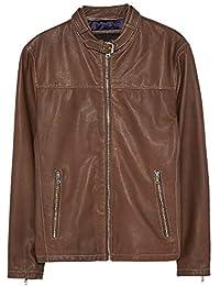 d4eed31b Zara Men's Topstitched Leather Jacket 3138/356 Beige