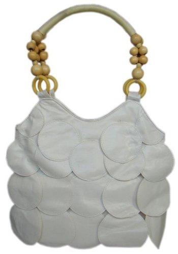 Élégant perles en bois Shopper en blanc