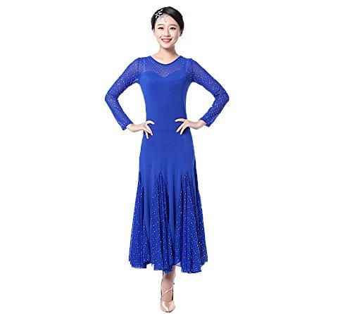 Dance Kleider–Modern Glatte Walzer Tango Party Tanzen Swing Wettbewerb Dancewear Rock Kleid Kostüme Gymnastikanzug Bekleidung und Accessoires für Frauen, blau (Belle-teen-kostüm)