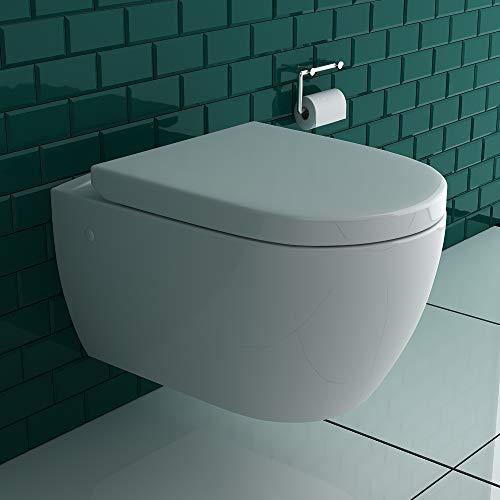 Alpenberger Hänge-Dusch-WC integrierter Bidet-Taharet Funktion mit verstellbarer Edelstahlkopfdüse + Abnehmbarer D-Form WC-Sitz inkl. Soft-Close-Funktion | Ästetisches Design | 2 in 1 Bidet und WC