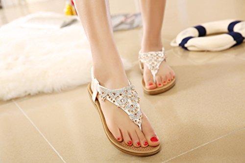 dqq Femme T sur String Perles Plat Sandales Blanc - White 975