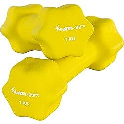 Movit Par de Mancuernas Recubiertos de Neopreno mancuerna de una Mano Pesas de 2 x 1,0 kg Amarillo