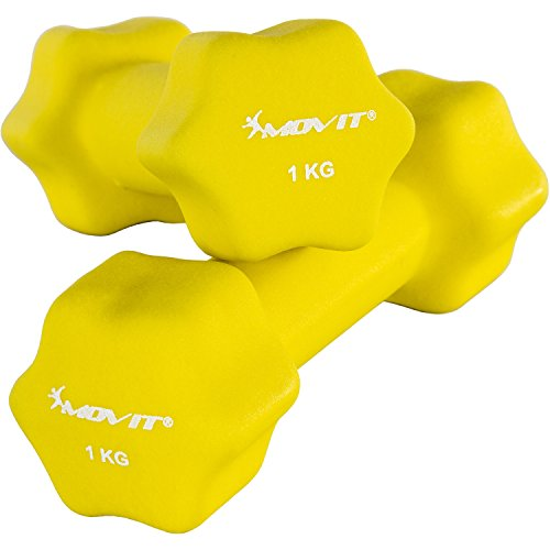 MOVIT 2er Set Neoprenhanteln, Kurzhanteln mit Oberfläche aus Neopren, 2X 1,0kg in Gelb