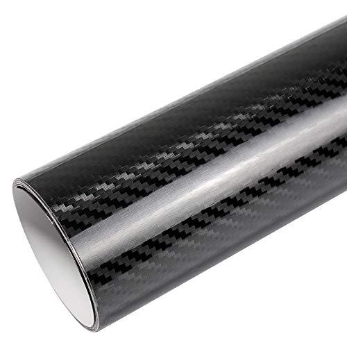 5D Carbon Super Glanz Folie schwarz Hochglanz BLASENFREI 2m x 1,52m mit Luftkanäle