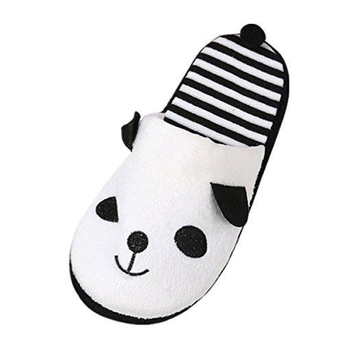 Damen Slipper VENMO Lovely Cartoon Panda Schuhe Home Floor Soft Streifen Hausschuhe Weibliche Schuhe 36-40 (38, White) (Strass-mokassin)