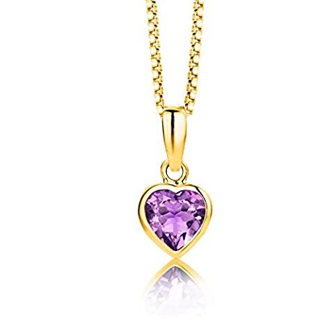Byjoy 925 Gold Plated Heart Shaped Amethyst Pendant on 45cm