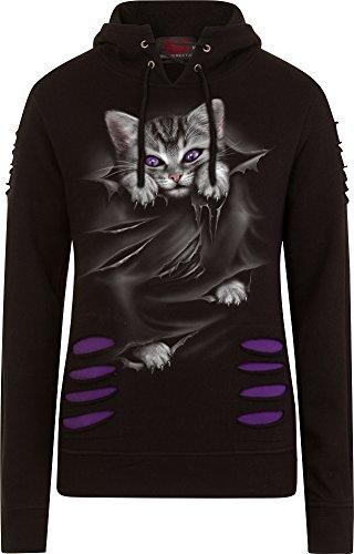 Spiral Direct Damen Bright Eyes - Large Hood Ripped Hoody Purple-Black Kapuzenpullover, Schwarz (Black & Purple 004), 46 (Herstellergröße: X