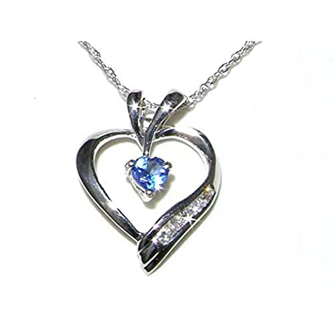 9ct White Gold Heart Tanzanite & Diamond Pendant & 18