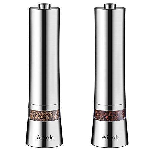 Aicok Electric Salt and Pepper Grinder Set (Pack Of 2), Stainless Steel Electronic Salt & Pepper Mill with Adjustable Ceramic Coarseness, Electronic Salt and Pepper Shakers with Visible Window Unique