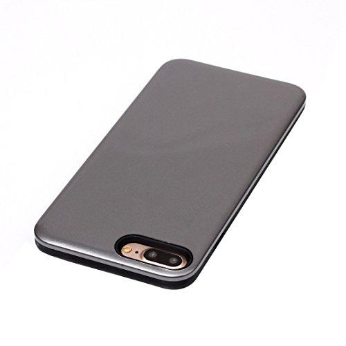 Für iPhone 7 Plus TPU + PU-kombinierter schützender rückseitige Abdeckungs-Fall by diebelleu ( Color : Grey ) Grey