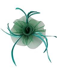 Fleur Plume Fascinateur Pince à Cheveux en Gaze Elégant Accessoire de Cheveux pour Mariée - Vert foncé