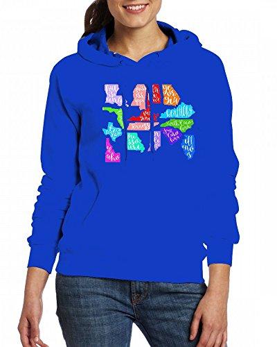 Cursive State Decal Womens Hoodie Fleece Custom Sweartshirts blue