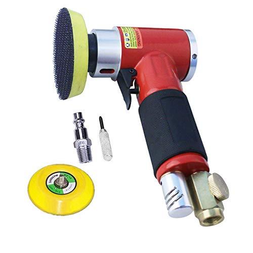 Neu leistungsstark Exzenterschleifer Druckluft Winkelschleifer/Polierer Mini Gerade Lang Rot + 50mm und 75mm Schleifteller