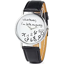 Webcajk Whatever I'm Late Anyway Womens Watch jumbled numbers shows numbers falling off Leather Strap