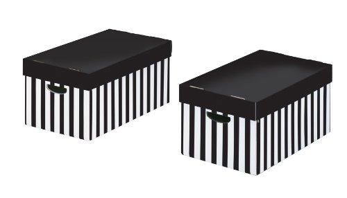 Nips 119219131 - confezione da 2 scatole portaoggetti con coperchio, (l x p x a) 31,0 x 52,0 x 24,5 colore: bianco/nero