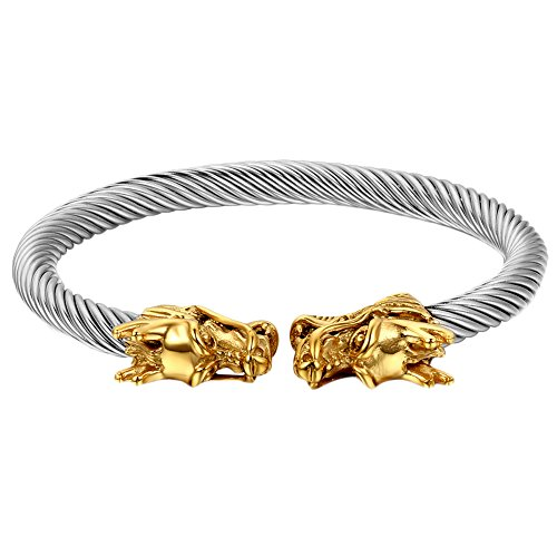 Cupimatch Herren Armband doppelten Drachen Kopf Armband, Elastische Verstellbare Edelstahl Verdrehten Stahlkabel Armreif, gold silber