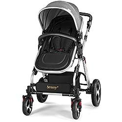 Besrey Silla de paseo Cochecito para niños Cochecito para bebés Baby Jogger Carriage - 2 colores - gris