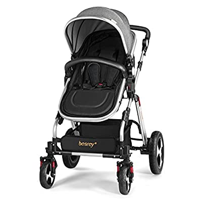 Besrey Baby Pushchair 2 in 1 Baby Stroller Travel System Foldable Infant Buggy with Reversible Bassinet - Grey  Katies Playpen® - Baby Best Buys