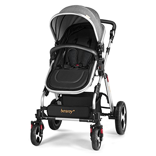 Besrey Stroller 2 in 1 Pram with Rain Cover and Drink Holder for Infant and Toddler (Grey,0-36 Months)  besrey