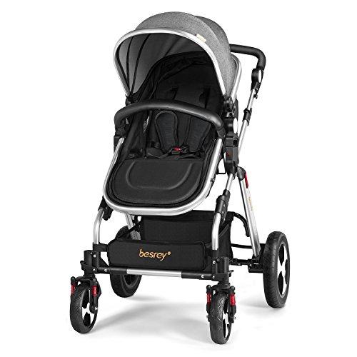 Besrey passeggino e carrozzina 2 in 1 bambino da 0-36 mesi ,pieghevole,colore grigio e nero