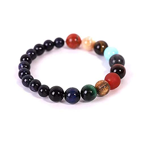 Ohyoulive Eight Planets Bead Bracelet - Fashion Cosmic Galaxy Eight Planets Bracelet Couple Bracelet Fashion Constellation Bracelet Small Gifts Men and Women Colorful Handmade Beaded New