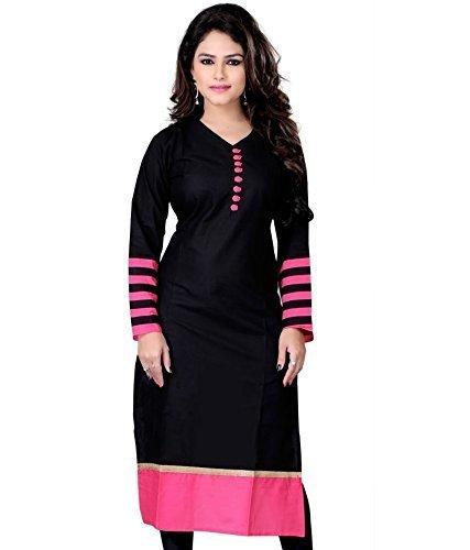 KanishaTrendz Women's Cotton Party Wear Kurti (KT-KU-Black_X-Large_Black)