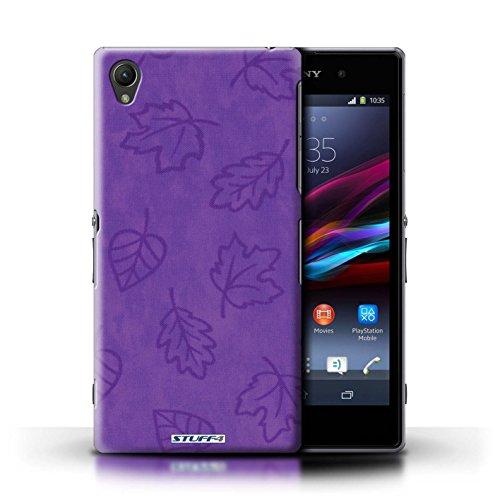 Kobalt® Imprimé Etui / Coque pour Sony Xperia Z1 / Rose conception / Série Motif Feuille/Effet Textile Pourpre