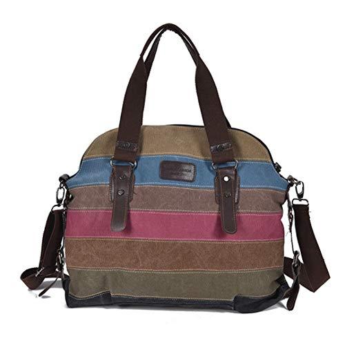 ZWYKH Canvas Tasche Trend Regenbogen Gestreiften Canvas Tasche Mode NäHen Handtaschen Waschen Stoffbeutel