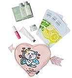 The kit contains: lip tints, daily perfume hand-cream, real nature green tea masksheets,real nature lemon mask sheet & chia seed discovery kit.