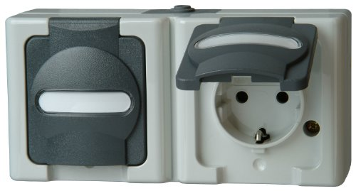 Kopp 131256002 Blue Electric Schutzkontakt-Steckdose, 2-Fach mit Deckel -