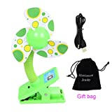 MONDAYNOON Clip-on With USB Mini Stroller Fan for Baby Cots Playpens (Green)