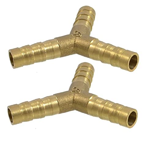 2 x Brass Y Style 3 Ways Hose Barb Connectors Adapters for 8mm Tubing