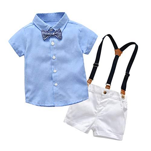 Makalon 1-5 Jahre Baby Junge Sommer Mode organisch Baumwolle Freizeit Krawatte Bogen T-Shirt Kurze Ärmel Hemd Kurze Latzhose 2 Stück Outfit Sets Kinder Frühling Süß Bekleidungssets (Hosenträger Bogen-krawatte Grünen Und)