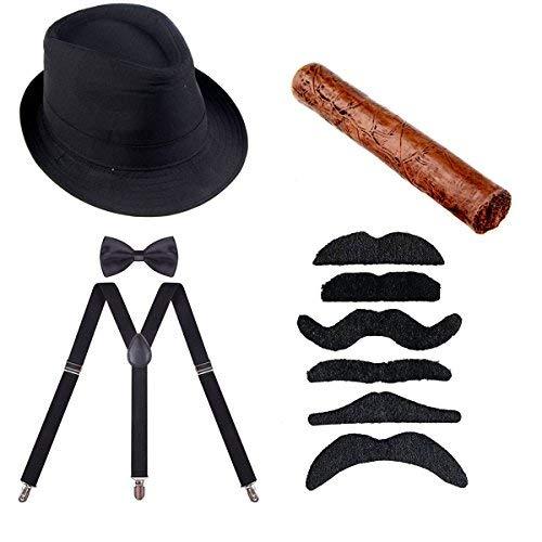 ECOSCO 1920er Herren-Kostüm, Manhattan-Fedora, Hosenträger, Fliege, falsche Zigarre, Gangster, Fancy, Zubehör, Kostüm-Kit, schwarz