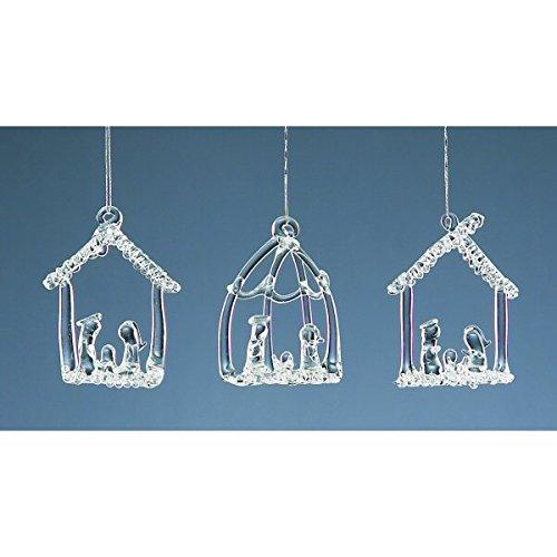 Set Of Three Hanging Glass Nativity Christmas Tree Decorations by Christmas - Tree Set Nativity Christmas