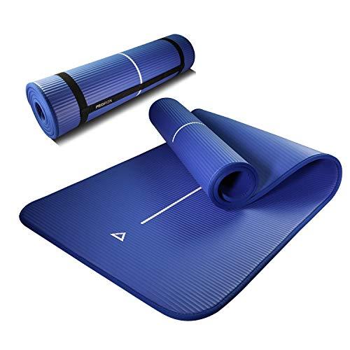 PROIRON Fitness Matte für Zuhause Fitnessmatte rutschfest Gymnastikmatte rutschfest NBR-Material 183cm x66cm x1cm mit Tragegurt (Blau)