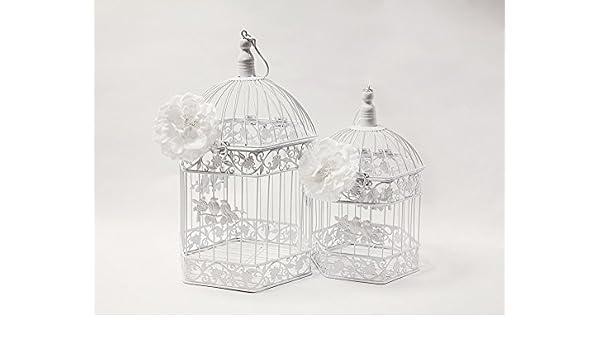 Weiss Vintage Sechseck Vogelkafig 2er Set Hochzeit Decor Mittelpunkt