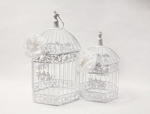 Weiß Vintage Sechseck Vogelkäfig 2er Set Hochzeit Decor Mittelpunkt Home Garten