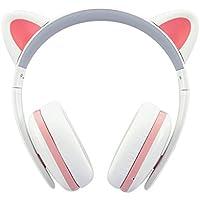 BC Master Auriculares Bluetooth Inalambricos con orejas de gato Universal 3.5mm Audio Plug y Bluetooth 4.0 Compatible para Smartphone, PC, Laptop, MP3, etc - Blanco