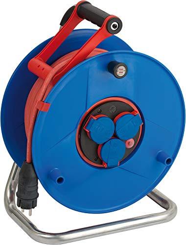Brennenstuhl Garant Bretec IP44 Gewerbe-/Baustellen-Kabeltrommel (50m Kabel, Spezialkunststoff, Baustelleneinsatz und ständiger Einsatz im Außenbereich, Made in Germany) rot