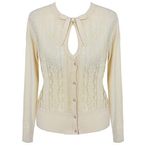 Punte-a maglia da donna, colore panna, anni 50 Rockabilly Pinup vintage-Stil