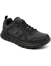Skechers Men's Black Track- BUCOLO Mesh Sport Shoes